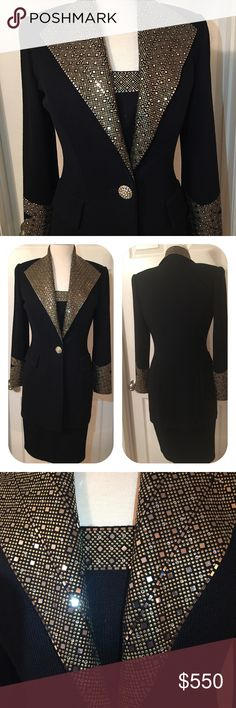 St John Evening Black Skirt Suit St. John Evening Jacket 2pc suit includes a St John Basic skirt and bust insert piece. Very sharp cut to this Jacket. Plated Sequin gold & silver embellishment sparkles beautifully under any light. One or two missing sequin. Excellent Condition overall. No snags or other issues at all. St. John Skirts Skirt Sets