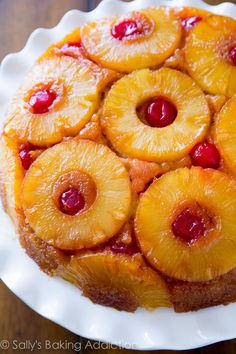 Pineapple Upside Down Cake that is super moist and fabulous.  I don't use rings or cherries - I use crushed pineapple.