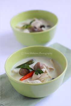 Thai Coconut Chicken Soup - chicken, straw mushrooms, coconut milk, lemongrass, lime juice, cilantro. #thai #soup