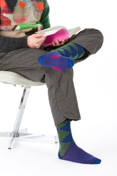 Walter Van Beirendonck Colour Block Sweater, Padded Loose Fit Trouser, and Socks via http://www.projectno8.com