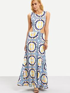 Geometric+Print+Cutout+Sleeveless+Long+Dress+18.99
