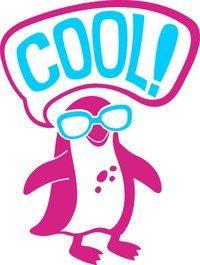koele pinguïn, roze / turquoise, die overeenkomen met de stof, velours motief t-shirt - PeppAuf.de