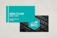 Freelance Writer Business Card Template design from Inkd. Grunge photo displays vintage letterpress stamps to illustrate the industry.