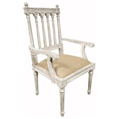 Noir St Michel Arm Chair Weathered White @Layla Grayce