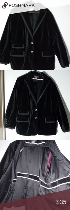 Plus Size Velvet Blazer Very pretty velvet jacket. Has a really nice tuxedo look to the sleeves, collar and pockets.  Can be worn with dress pants or skirt for business wear.   Not worn very much. My mother tends to by things and not wear them very much or for 1 season... Excellent condition.  Fully Lined,  100% velvet cotton  George brand- Designed by Mark Eisen George Jackets & Coats Blazers
