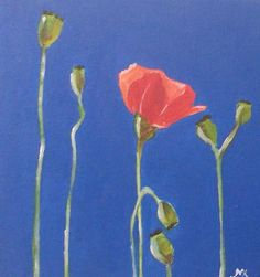 Original Acrylic Painting of a Poppy by wellydoggallery on Etsy, £20.00
