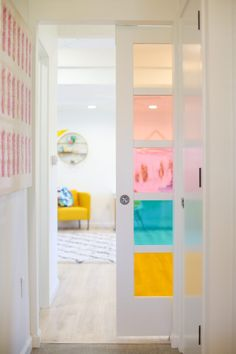 Learn how to create this DIY faux stained glass sliding barn door in just minutes! See the secret material that makes this project a total snap. Perfect for renters and removable home decor. Super easy DIY home decor idea for homeowners too! Deco Pastel, Faux Stained Glass, Interior Decorating, Interior Design, Home And Deco, New Room, Colorful Interiors, House Colors, Room Inspiration