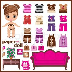 Get this hi-res stock vector Paper doll with clothes set. vector. Buy as single download or save up to 90% with a subscription.