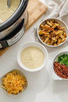 This easy recipe for Slow Cooker Potato Leek Soup is perfect for a cozy day at home and can also be made on the stovetop! Top it with homemade croutons, cheese, bacon pieces, and scallions! #slowcooker #potatoes #potatosoup #leeks #soup Healthy Potato Leek Soup, Healthy Potatoes, Potato Soup, Slow Cooker Recipes, Soup Recipes, Slow Cooker Potatoes, I Foods, Bacon