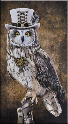 Cute Fantasy Creatures, Magical Creatures, Cute Animal Drawings, Cool Art Drawings, Art Steampunk, Whimsical Owl, Owl Illustration, Nz Art, Owl Pictures