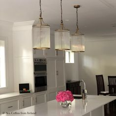 Valli glass pendant in brass with glass rods Pendant Lights White Kitchen Decor, Kitchen Interior, Kitchen Design, Wood Chandelier, Pendant Lighting, Country Kitchen Plans, Wilton House, Interior Architecture, Interior Design