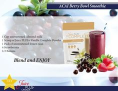 ACAI Berry Bowl Smoothie made with Juice Plus Complete protein shake mix which packs the punch of 25 whole foods with plant based nutrition; 13g protein, 8g fibre, all natural sweetener, low glycemic, non-dairy, 100% vegan, no artificial flavouring, coloring or preservatives. Available at www.GottaGetHealthy.com