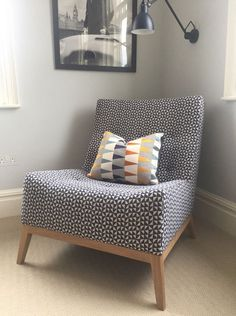 This is our hand made Theo Armchair which we have had made for one of our client's children's bedrooms. It is very comfortable and the perfect snuggle chair.