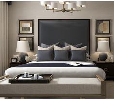 The final room in our Riverside Apartment Collection is this classic blue bedroom with touches of antique brass. You can shop every piece… Master Bedroom Interior, Home Decor Bedroom, Modern Bedroom, Lux Bedroom, Contemporary Bedroom Furniture, Master Bedroom Makeover, Bedroom Wall, Suites, Beautiful Bedrooms