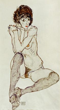 Egon Schiele, 'Seated Female Nude, Elbows Resting on Right Knee', 1914