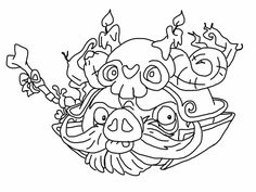 Angry birds epic coloring page - wizard pig