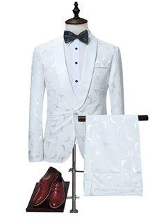 Notched Collar White One Button Luxury Slim Fit Men's Dress Suit Suit fashion Mens Casual Suits, Dress Suits For Men, Mens Suits, Men Dress, Blazer Outfits Men, Blazer Dress, Track Suit Men, Suit Shop, Floral Blazer