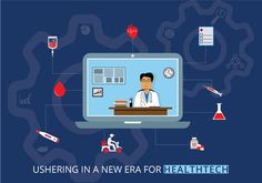 Infographics on health tech industry depicts how it's become easier to consult a doctor without visiting hospitals and clinics Hospitals, Infographics, Clinic, Industrial, Tech, Health, Creative, Infographic, Health Care