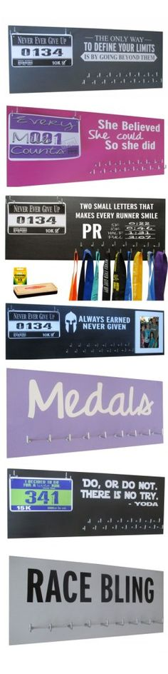 Use a super running medal holder to give the perfect gift to the runner in your life. They offer TONS to choose from and the prices are just GREAT! Love their vibrant colors and inspirational quotes.