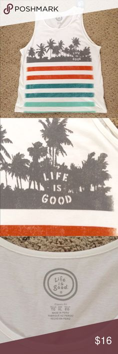 """NWT Life Is Good Men's White Palm Tree Tank Top XL Life is Good Men's Tank Top (Do What You Love.  Love What You Do) Life is Good T-Shirt is Made of 100% Cotton  Color is White with the Life is Good logo on one side in Gray Size XL - Chest measures 25.5"""" across, Length is 32"""" Brand New with Tags Comes from a smoke free home. Life is Good Shirts Tank Tops"""