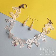 Sweet Pink Blue and Shiny White Dots Set. by fairymistjewellery Sweet cute pastel handmade jewellery.