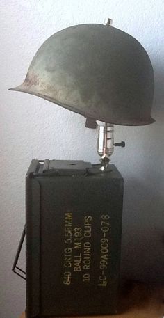 Military vintage helmet/ amo box lamp with secret compartment on Etsy, Industrial Project Ideas Deco Vintage Industrial Furniture, Vintage Lamps, Vintage Helmet, Antique Lighting, Industrial Lighting, Ammo Cans, Bright Homes, Secret Compartment, Steampunk Lamp