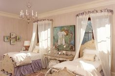 I LOVE the bent iron rods over the beds for curtain rods. Shabby Chic-17-1 Kind Design