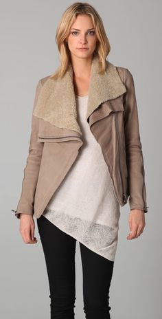 kind of obsessed with this leather/shearling Helmut Lang jacket