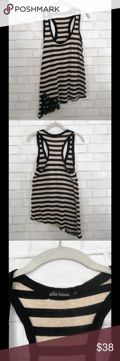 Ella Moss striped beige/black lace top Adorable look from Ella Moss , this is a striped beige /black top with lace design on bottom in great condition! (I do NOT trade) ella moss Tops Tank Tops