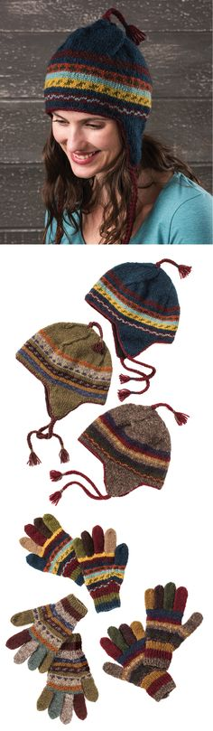 Hand knitted fine wool accessories in muted autumn colours. Hand made in Nepal, fairly traded by Namaste. Autumn Colours, Fair Trade, Nepal, Namaste, Hand Knitting, Captain Hat, Wool, Hats, Clothing