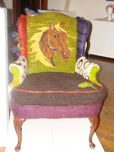 horse on felted wool chair