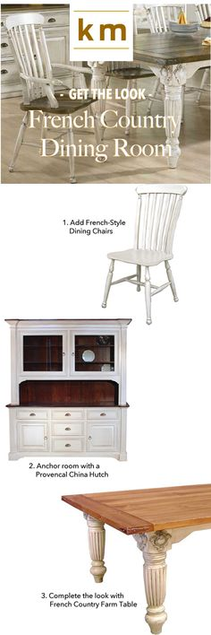 GET THE LOOK: Add some French Country Style to your dining room with Lath Back Farmhouse Chairs, Provencal China Hutch and French Provincial Dining Table by KateMadison.com