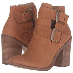 Steve Madden Trevur (Cognac Leather) Women's Boots ($101) ❤ liked on Polyvore featuring shoes, boots, ankle booties, ankle boots, cognac boots, leather booties, block heel ankle boots, cognac leather booties and cognac booties