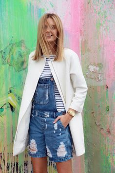 Triple D: distressed denim dungarees - love the look #wefashion