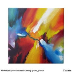 Abstract Expressionism Painting Ceramic Tile