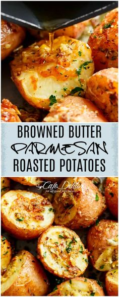 Herbs, garlic, and parmesan cheese are roasted together to make the best Crispy Browned Butter Parmesan Roasted Potatoes! Perfect with ANYTHING!