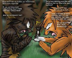 squirrelflight and brambleclaw argument   Brambleclaw and Squirrelflight's Argument by KangaeOkami on deviantART