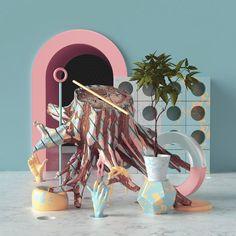 Peter Tarka (@petertarka) STRANGE COMPS #geometric #inspiration #instart #instartist #plants #patterns #marble #graphicdesign