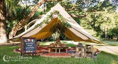 Glamping diameter Protech Canvas Bell Tent Double Door Dinner Styling Charity Ball Event dinner table centre piece - Tents - Ideas of Tents Bell Tent Glamping, Camping Glamping, Camping Hacks, Camping Ideas, Diy Tent, Teepee Tent, 5m Bell Tent, Canvas Bell Tent, Family Camping