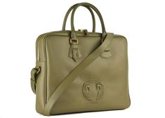 Roberto Cavalli displays casual sophistication with this olive green briefcase. This case features grained leather, a gold tone top zip closure, and a multi compartment pocket interior with numerous pen slots. Briefcases, Roberto Cavalli, Olive Green, Zip, Leather, Bags, Handbags, Briefcase, Bag