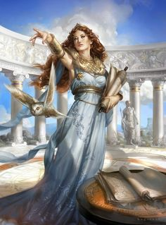 Spectacular Digital Art by Cynthia Sheppard...must be Athena due to the Roman background and the owl. my guess at least