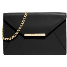 Michael Michael Kors Black Lana Envelope Clutch ($228) ❤ liked on Polyvore featuring bags, handbags, clutches, purses, accessories, bolsas, black, black hand bags, hand bags and black leather clutches