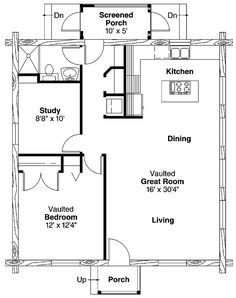 One bedroom house plan When the kids leave I would screen in the