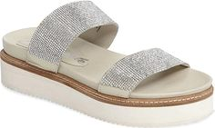 Free People Women's Shoes in Silver Leather Color. Bring on the shimmer for summer in a dazzling flatform slide sandal featuring a duo of crystal-encrusted straps. Silver Shoes, Pumps, Heels, Slide Sandals, Silver Color, Women's Shoes, Espadrilles, Free People, Footwear