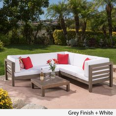 Oana Outdoor 4-Piece Acacia Wood Sectional Sofa Set with Cushions by Christopher Knight Home (White with Grey Teak Finish), Size 4-Piece Sets, Patio Furniture