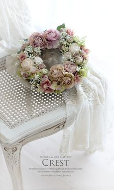 wreath with ranun & roses in pastel pink
