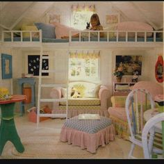 A good Idea for a little girls room, especially if they like tea parties. Love the couch  TOo fluffy! but I love the use/division of space
