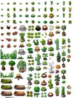 Trees bushes etc Sprites, How To Pixel Art, Game Design, Web Design, 2d Game Art, 8bit Art, 8 Bits, Pixel Art Games, Rpg Maker