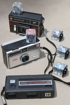 Vintage flashcube cameras!  Only 4 flashes per bulb - I can still remember the sound it made as it flashed!