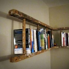 this is fantastic! an old ladder turned sideways and used as a book shelf.